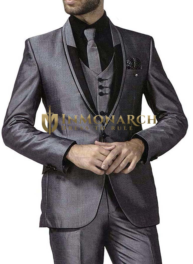 Mens Gray 7 Pc Tuxedo Suit Modern Fit One Button