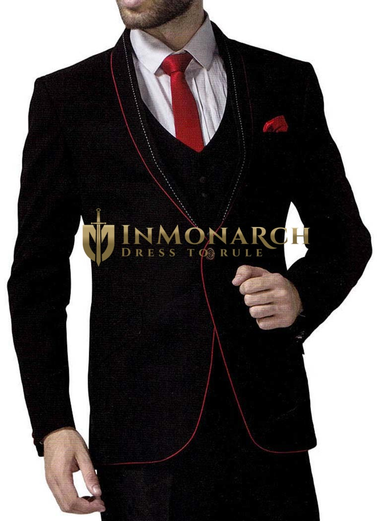 Mens Black 6 Pc Tuxedo Suit Groomsmen One Button