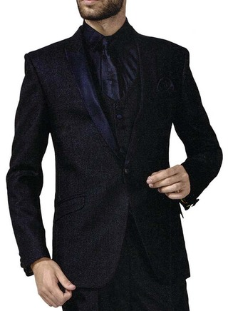 Mens Blue 6 Pc Tuxedo Suit One Button Peak Lapel