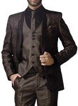 Mens Brown 6 Pc Tuxedo Suit Partywear Two Button