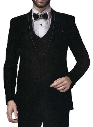 Mens Black 6 Pc Tuxedo Suit Unique Look One Button