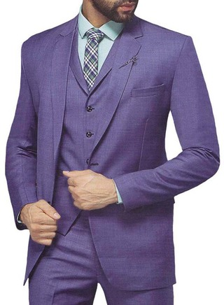 Mens Purple 6 Pc Tuxedo Suit Grooms Two Button