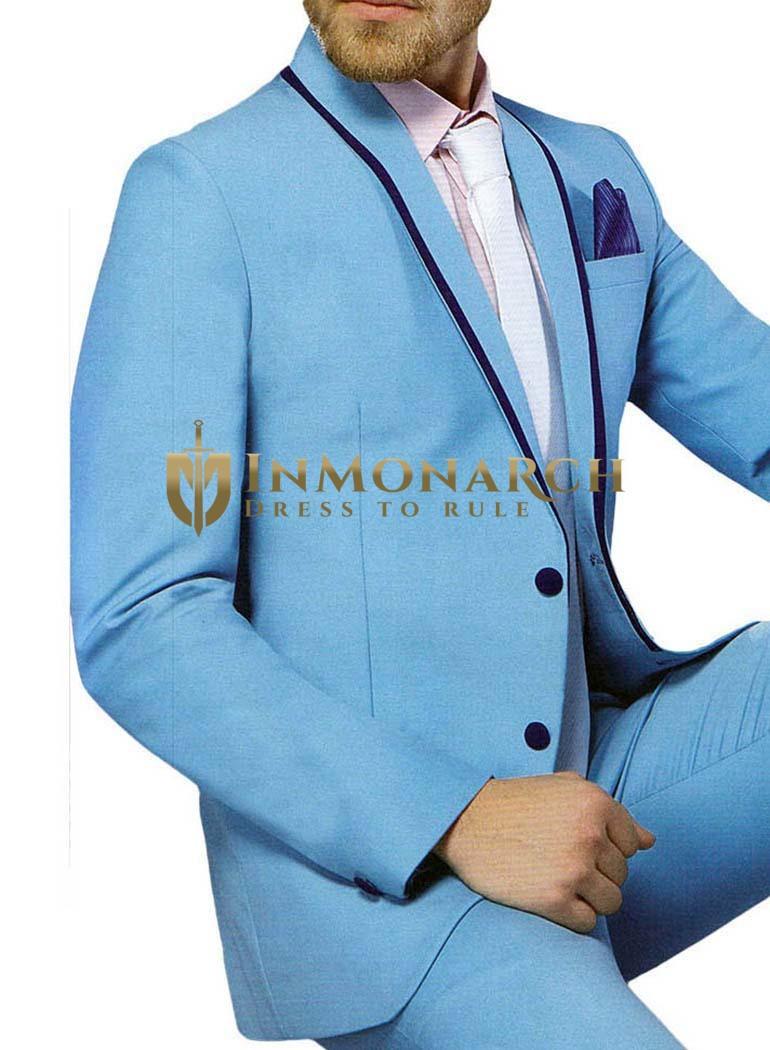 Mens Sky Blue 5 Pc Tuxedo Suit Luxury Two Button