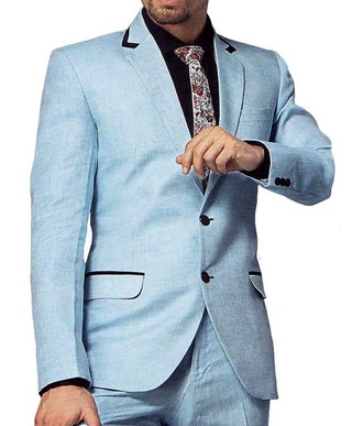 Mens Sky Blue 4 Pc Tuxedo Suit Two Button