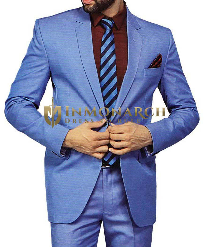 Mens Sky Blue 5 Pc Tuxedo Suit Notched Lapel One Button