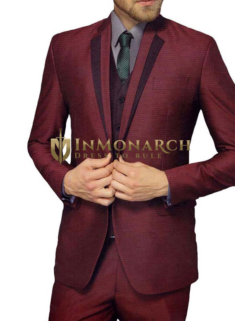Mens Burgundy 5 Pc Tuxedo Suit One Button Notched Lapel