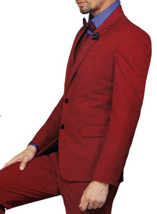 Mens Burgundy 6 Pc Tuxedo Suit Prom Wedding Two Button