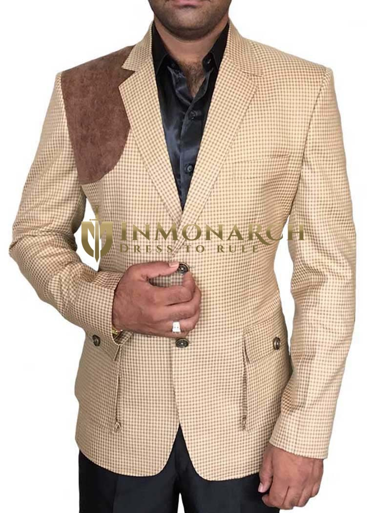 Mens Bisque 3 Pc Tuxedo Suit Designer Two Button