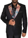 Mens Black 3 Pc Tuxedo Suit Two Button Notched Collar