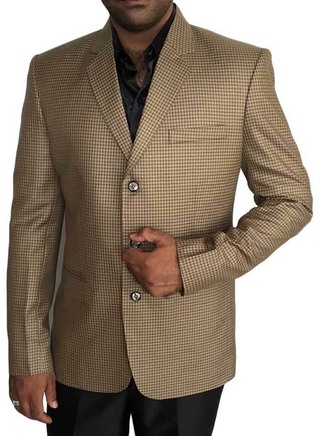 Mens Tan 3 Pc Tuxedo Suit Small Check 3 Button
