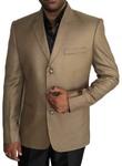Mens Tan 3 Pc Tuxedo Suit Small Check 3 Button
