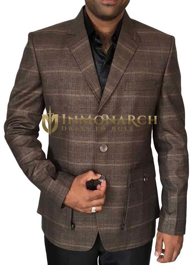 Mens Brown 3 Pc Tuxedo Suit 3 Button Notch Lapel