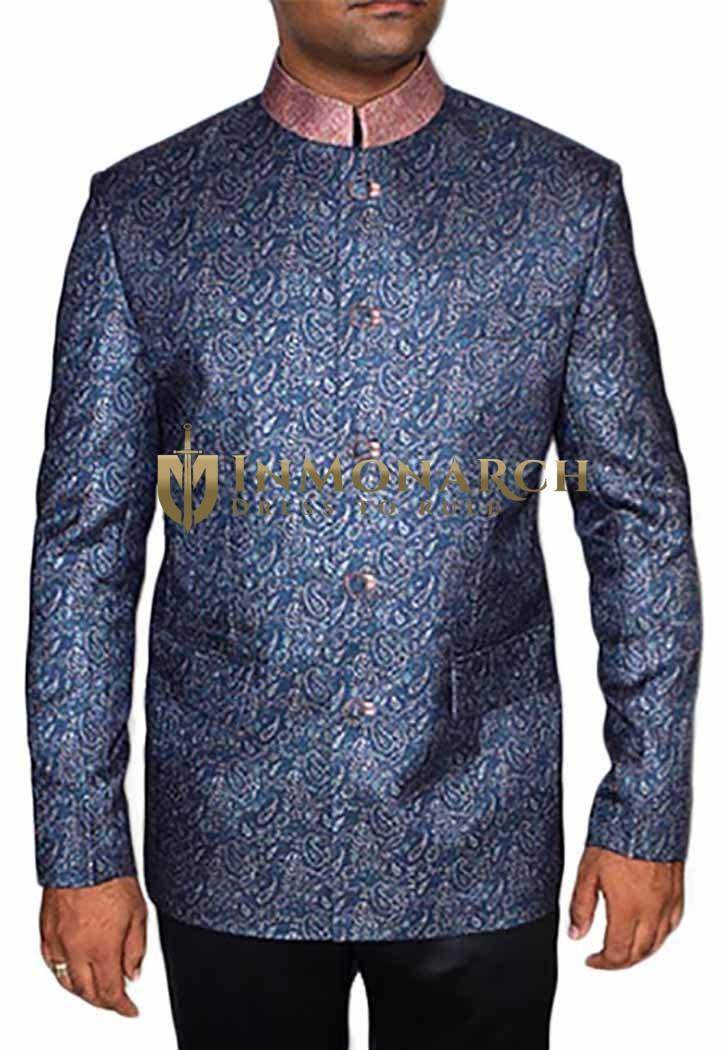 Mens Blue 2 Pc Jodhpuri Suit Innovative Style