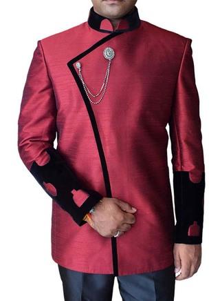 Mens Maroon Dupion 3 Pc Jodhpuri Suit Pleasurable