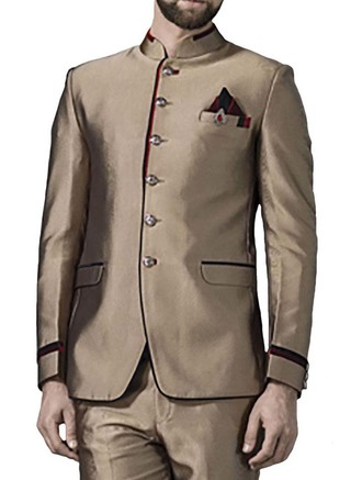 Mens Copper 4 Pc Jodhpuri Suit Exceptional 6 Button