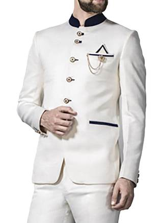 Mens White 4 Pc Jodhpuri Suit Impressive 6 Button