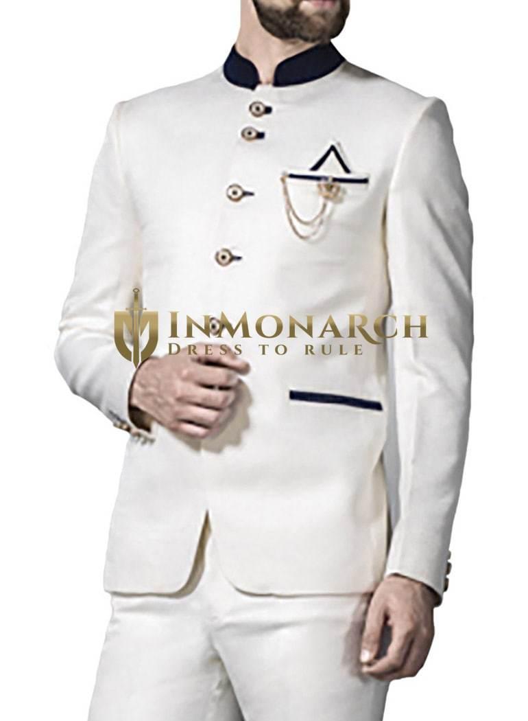 Mens White 4 Pc Jodhpuri Suit Impressive 6 Button