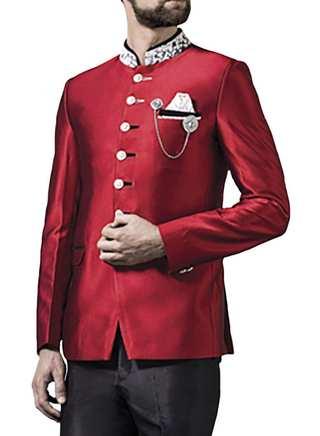 Mens Red 4 Pc Jodhpuri Suit Unique Look 6 Button