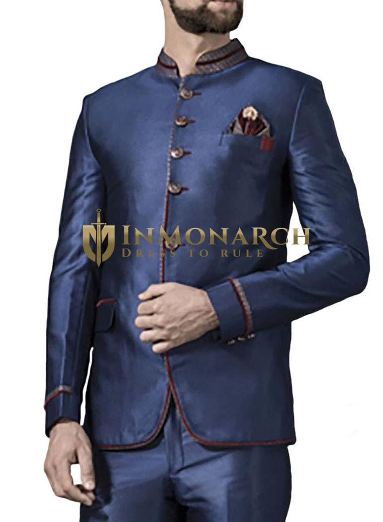 Mens Blue 3 Pc Jodhpuri Suit Graceful Look 6 Button