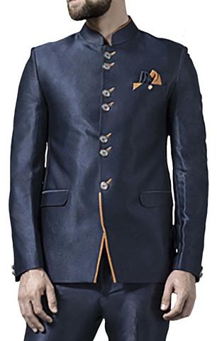 Mens Dark Navy 3 Pc Jodhpuri Suit Traditional 7 Button