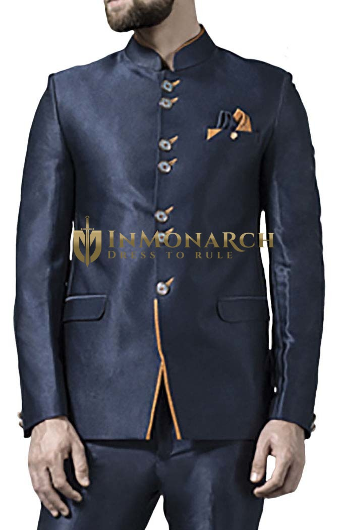 Mens Dark Navy 3 Pc Jodhpuri Suit Traditional 7 Button