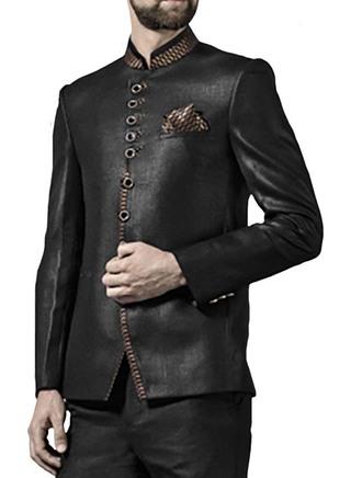 Mens Brown 3 Pc Jodhpuri Suit Attractive Nehru collar