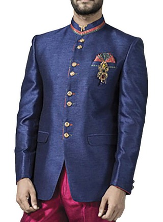 Mens Navy Blue 4 Pc Jodhpuri Suit Sophisticated 8 Button