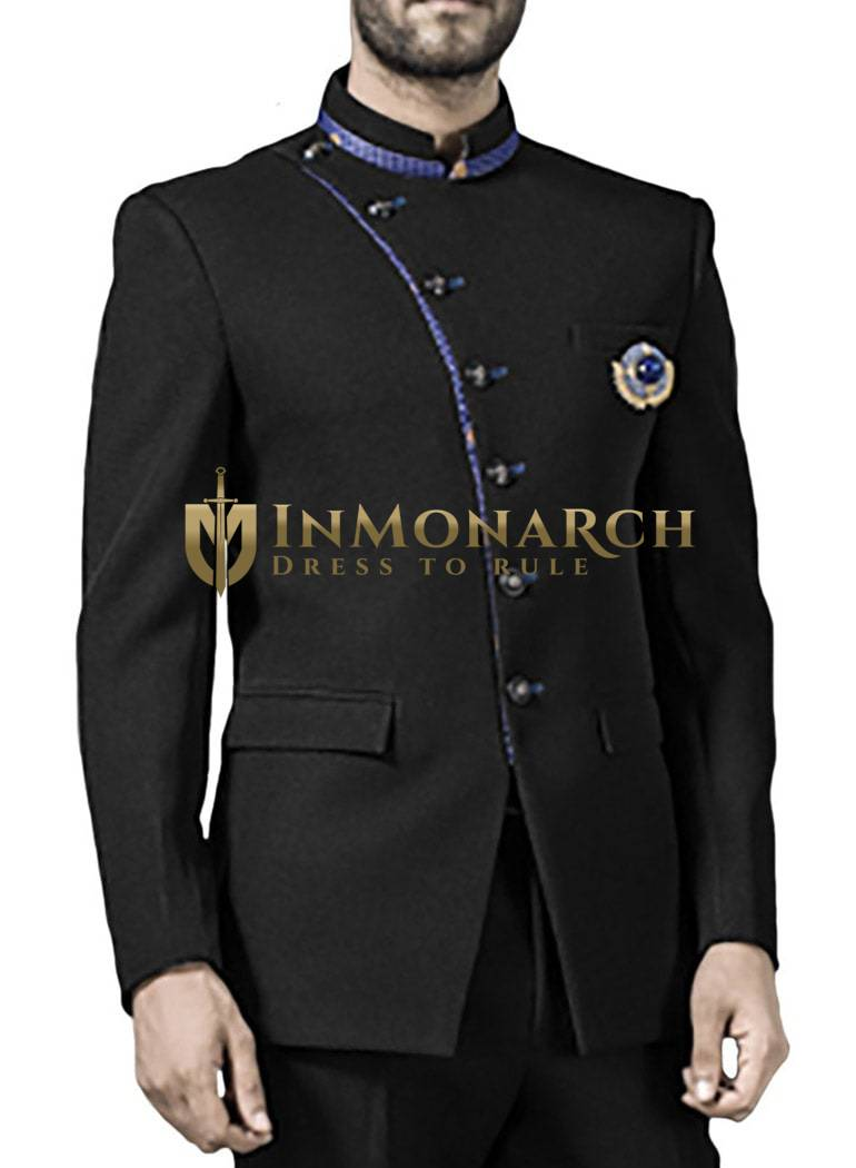 Mens Black 3 Pc Jodhpuri Suit Majestic 7 Button