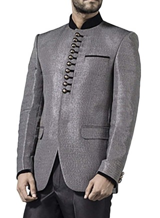 Mens Gray 2 Pc Jodhpuri Suit Fascinating 10 Button
