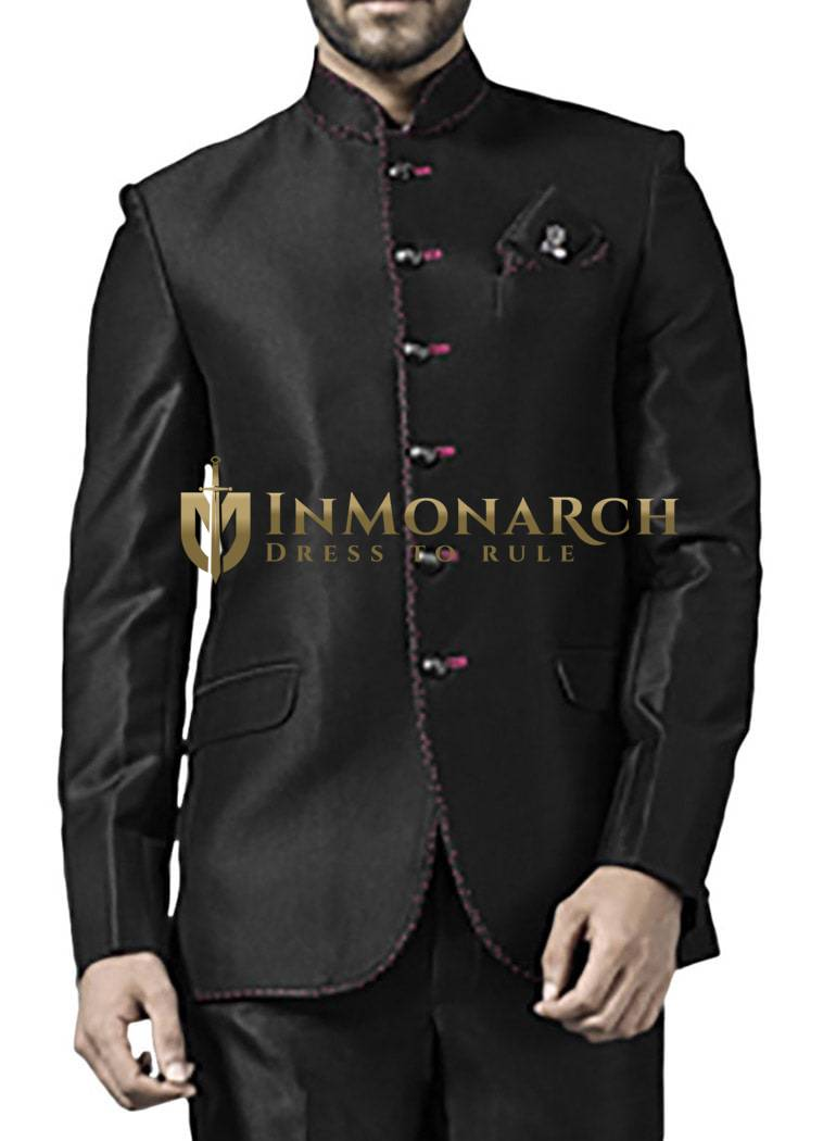 Mens Black 3 Pc Jodhpuri Suit Reception 6 Button