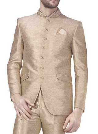 Mens Beige 3 Pc Jodhpuri Suit Indian Wedding 7 Button