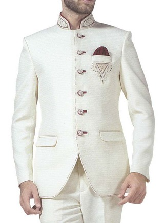 Mens Cream 3 Pc Jodhpuri Suit Embroidered 6 Button