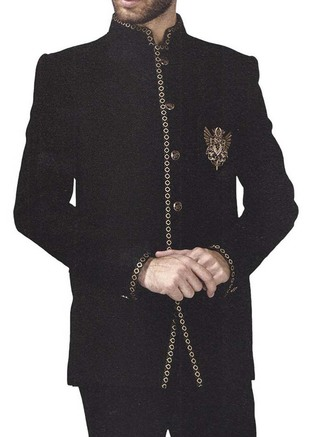 Mens Black 2 Pc Jodhpuri Suit Embroidered