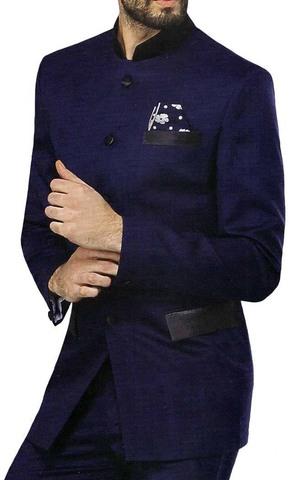 Mens Blue 3 Pc Jodhpuri Suit Elegance 5 Button
