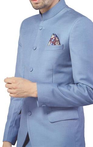 Mens Sky Blue 3 Pc Jodhpuri Suit Glamorous 5 Button