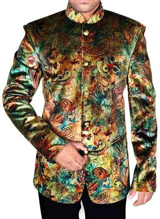 Mens Brown 2 Pc Velvet Jodhpuri Suit Gorgeous 5 Button