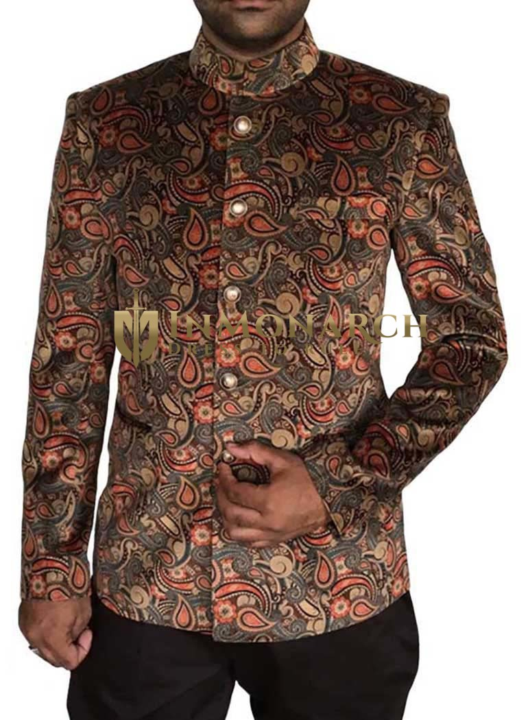 Mens Gray 2 Pc Velvet Jodhpuri Suit Vivacious 5 Button