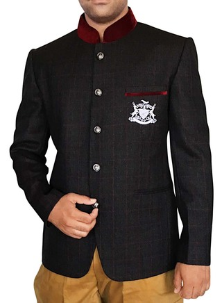 Mens Black 2 Pc Jodhpuri Suit Mandarin Collar 5 Button
