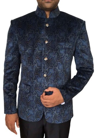 Mens Navy Blue 2 Pc Printed Jodhpuri Suit Fantastic 5 Button