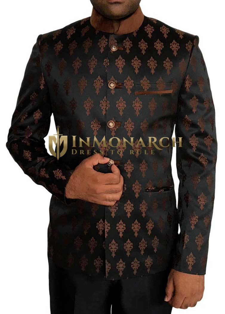 Mens Black 2 Pc Jodhpuri Suit Brown Flower