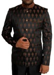 Mens Black 2 Pc Jodhpuri Suit Brown Flower