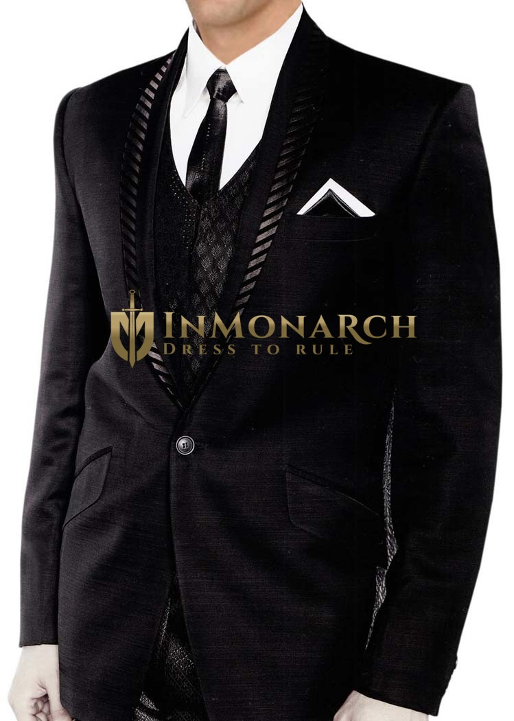 Mens Black 5 pc Tuxedo Suit Bollywood
