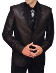 Mens Black Polyester 5 Pc Tuxedo Suit Designer