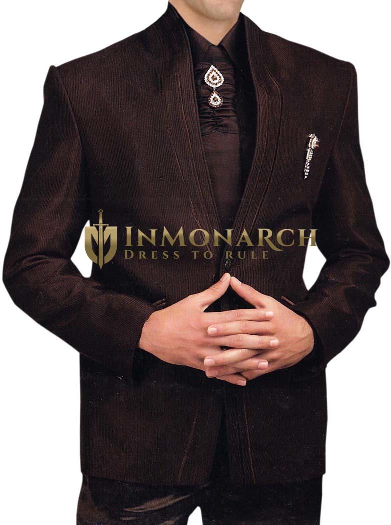 Mens Chocolate 6 pc Tuxedo Suit Traditional