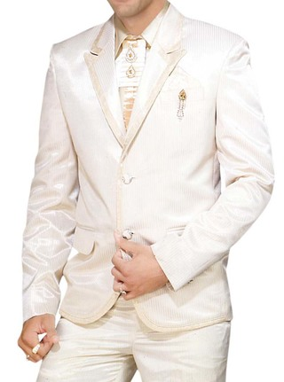 Mens Ivory 6 Pc Tuxedo Suit Designer Wedding