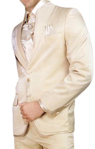 Mens Ivory 7 pc Tuxedo Suit High Neck Wedding