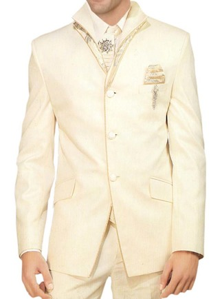 Mens Ivory 7 pc Tuxedo Suit High Collar