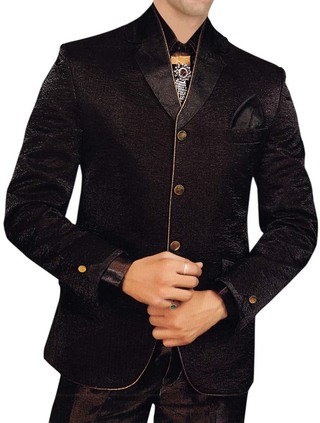 Mens Brown 6 pc Tuxedo Suit Classic Wedding Wear
