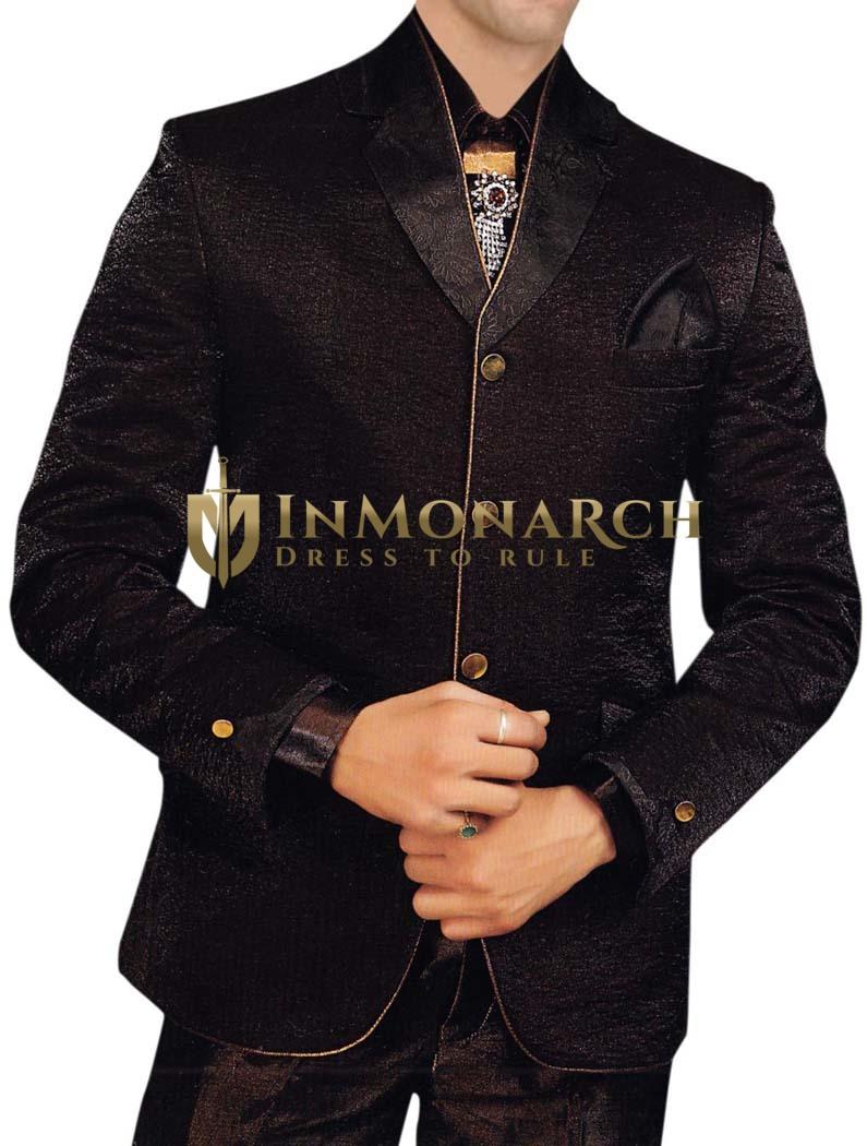 Mens Brown 6 pc Tuxedo Suit Classic Wedding Wear