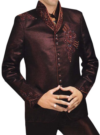 Mens Brown 5 pc Tuxedo Suit Designer High Neck